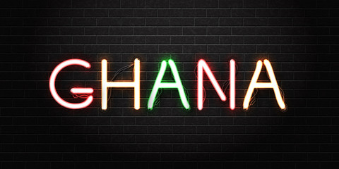 Vector realistic isolated neon sign of Ghana lettering logo for decoration and covering on the wall background. Concept of Happy Independence Day.