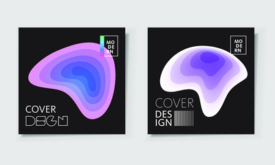 Paper cut covers with colorful layers on black background.  Abstract 3d multi layers minimal papercut. Layout witx text space for posters, banner design template. Smooth liqid flow shapes. Vector.