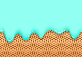 ice cream blue flows through wafer cup and vector texture