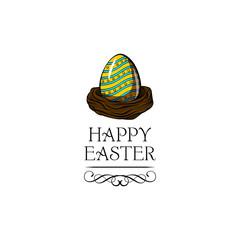 Colored Painted Easter egg. Nest. Easter greeting card, bird nest. Swirls. Vector.