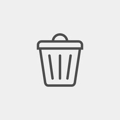 Trashcan flat vector icon. Basket flat vector icon. Container flat vector icon Description