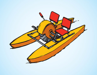 Catamaran pedal. Vector drawing