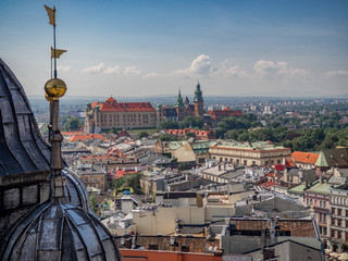 Fototapeta Aerial view of old city center in Krakow obraz