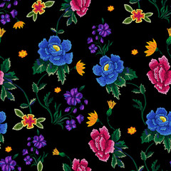 Embroidery ethnic seamless pattern with roses and peonies. Vector trend floral motif. Tribal design for fabric.