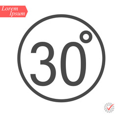 30 degrees icon,vector illustration. Flat design style. vector 30 degrees illustration isolated on White background