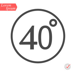 40 degrees icon,vector illustration. Flat design style. vector 40 degrees illustration isolated on White background
