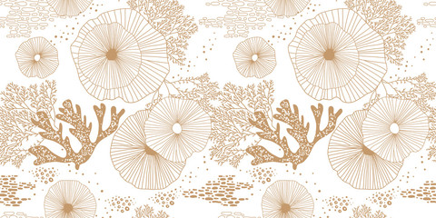 Hand drawn seamless vector pattern. Gold corals and algae on a white background for printing, fabric, textile, manufacturing, wallpapers. Sea bottom.