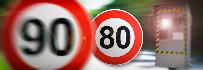radar 90km/h et 80km/h vitesse en France 1er juillet 2018 sur les route de France