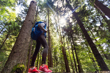 Low angle view of female hiker outdoor