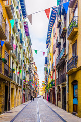 Colorful houses on a street in Pamplona, Spain