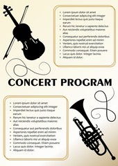 Concert program template with violin and trumpet silhouette, text frames, beige background in old paper style