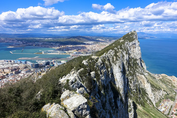 Aerial view of top of Gibraltar Rock. Gibraltar is a territory of South West Europe which is part of the United Kingdom