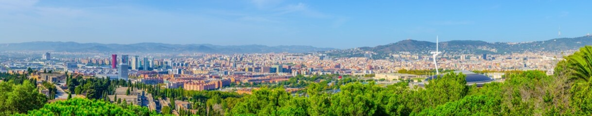 Panorama of barcelona including the olympic park.
