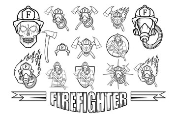 Set of Firefighter logo. Fire Department. Human with firefighter helmet.