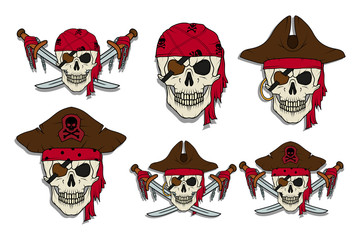 Set of Skull pirate. Jolly Roger. The skull dressed in a bandana and a pirate bandage in one eye.