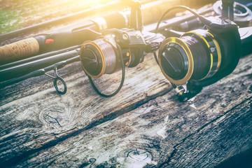 fishing rod gear background spinning wheel reel angler bait concept