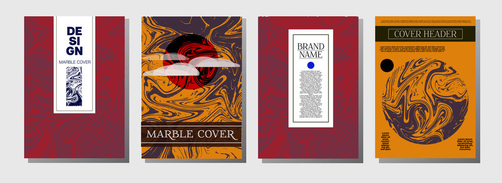 Marble Ink Texture Cover Collection. A4 Vector Liquid Paint Journal Template. Orange, Brown, Green, Trendy Marble Ink Texture Cover Set. Neutral Faded Colors, Hipster Music Poster. Suminagashi Ebru.