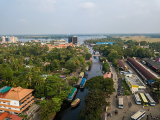 Aerial photo of Alappuzha India