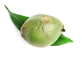Fresh green coconut with leaf on white background