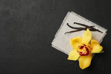 Vanilla flower and sticks on dark background