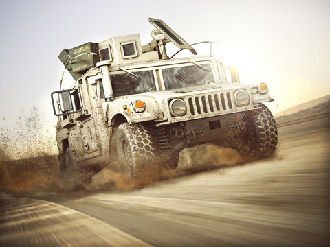Military armored vehicle moving at a high rate of speed with motion blur over sand. Generic 3d rendering scene.