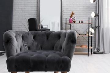 Comfortable armchair in makeup room