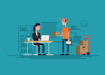 Delivery to office illustration