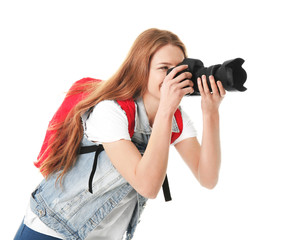 Female photographer with camera on white background