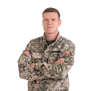 Male soldier on white background. Military service