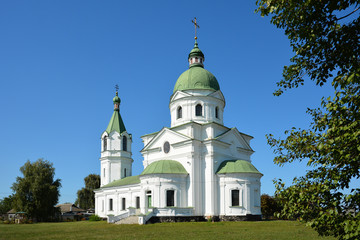 Greek Orthodox Church, religious, building XVIII century. Three Saints Church in ..Lemeshi, Chernihivska oblast, Ukraine.