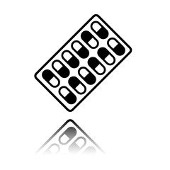 Pack Pills Icon. Black icon with mirror reflection on white background