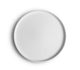 top view white plate on white background