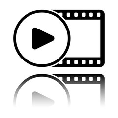 movie strip with play symbol in circle. simple silhouette. Black icon with mirror reflection on white background