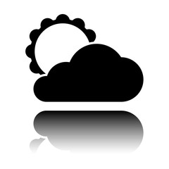 sun and cloud. Black icon with mirror reflection on white background