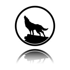 wolf. simple icon. Black icon with mirror reflection on white background