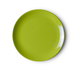 green plate on white background. top view