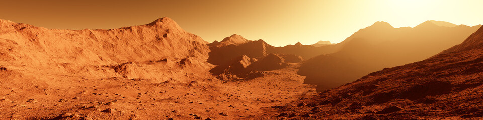 Wide panorama of mars - the red planet - landscape with mountains during sunrise or sunset