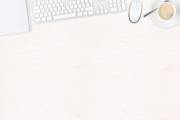 White wooden office desk top view with office utensils and cup of coffee