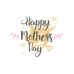Happy Mothers Day Logo Isolated Holiday Greeting Card Design Vector Illustration