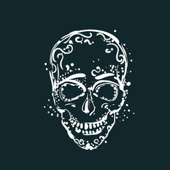 White Skull Tattoo On Dark Background Mexican Holiday Element Vector Illustration