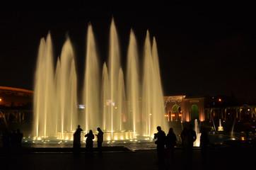 Illuminated water fountains in the Circuito Magico de Agua, Lima Peru