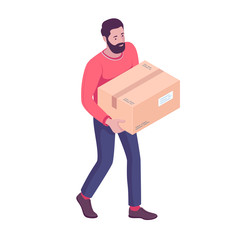 Young caucasian white homeowner moving to a new house and carrying box. Delivery man walking with cardboard box. Vector cartoon isometric illustration isolated on white background. Square layout.