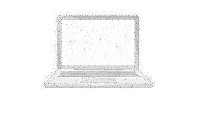 Polygon laptop with blockchain technology peer to peer network isolated on white background. Network, e-commerce, bitcoin and global cryptocurrency blockchain business banner concept. Low poly design.