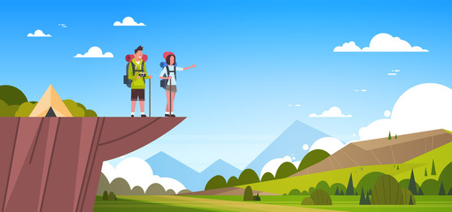 Couple Of Tourists With Backpacks Over Beautiful Nature Landscape Background Man And Woman Hiking Flat Vector Illustration