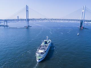 貨客船と橋の鳥瞰図。