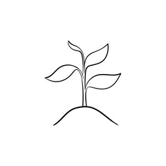 Sprout of plant hand drawn outline doodle icon. Growing plant with leaves vector sketch illustration for print, web, mobile and infographics isolated on white background.