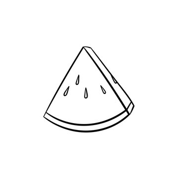 Piece of watermelon vector hand drawn outline doodle icon. Vector sketch illustration of piece of ripe watermelon for print, web, mobile and infographics isolated on white background.
