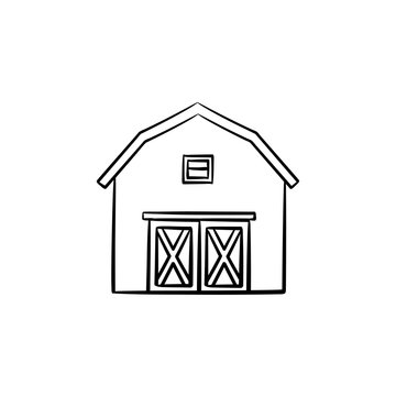 Farm barn hand drawn outline doodle icon. Storage house vector sketch illustration for print, web, mobile and infographics isolated on white background.