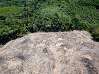 Aerial drone view of deforestation of a rainforest