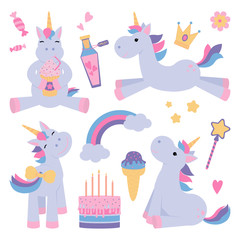 Magical unicorns with sweets vector set